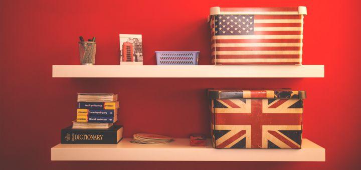 shelf with USA UK flag decorations